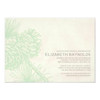 Elegant Pine Cones Bridal Shower Invitations Custom Invite