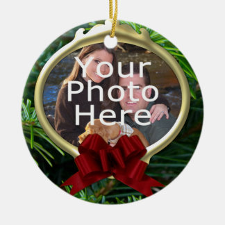 Elegant Pine Custom Photo Christmas Ornament
