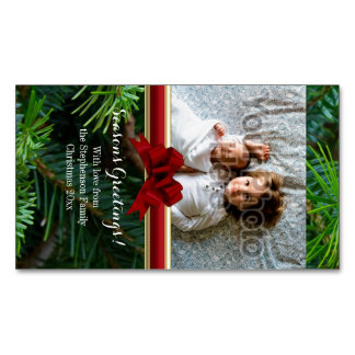 Elegant Pine Gold Red Bow Christmas Magnetic Business Card