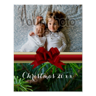 Elegant Pine Gold Red Bow Christmas Poster