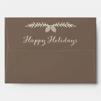 Elegant Pine Happy Holidays Pre-Addressed Envelope