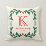 "Elegant Pine Monogram Holiday Throw Pillow<br><div class=""desc"">Elegant Pine Monogram Holiday Throw Pillow.  Classy square pine wreath design on an ivory background (can be changed if desired) - easy to customize with your own text!</div>"