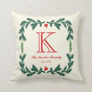 Elegant Pine Monogram Holiday Throw Pillow