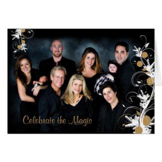 Elegant Pine Ornaments Holiday Photo Card Folded