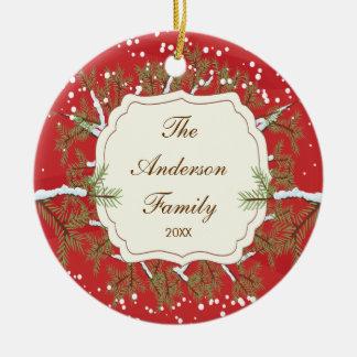 Elegant Pine Tree  Branche Dated Family Christmas Ornament