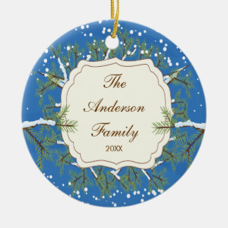 Elegant Pine Tree  Branche Dated Family Christmas Ornaments