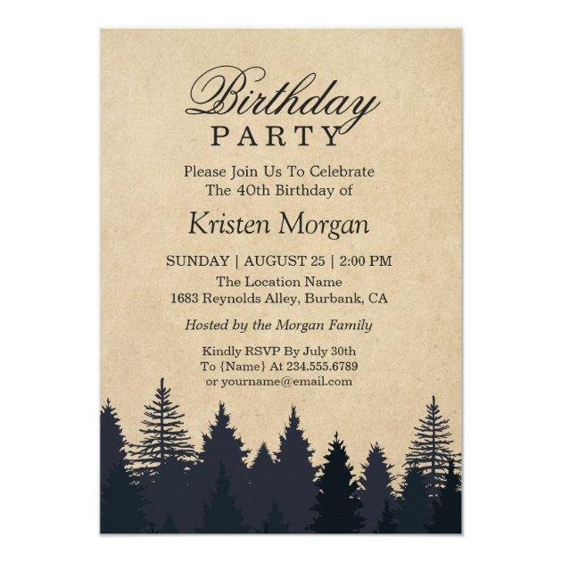 Elegant Pine Tree Kraft Birthday Party Invitation