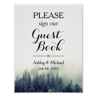 Elegant Pine Trees Forest Wedding Guestbook Sign