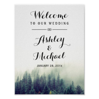 Elegant Pine Trees Forest Winter Wedding Sign