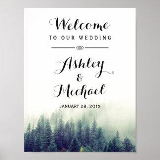 Elegant Pine Trees Forest Winter Wedding Sign Poster