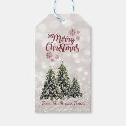 Elegant,Pine Trees,Glittery Bokeh Gift Tags