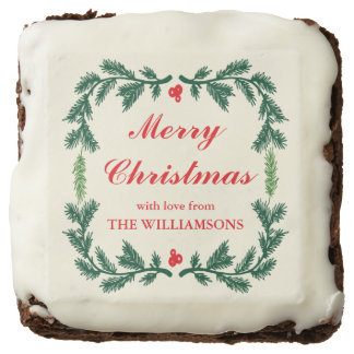 Elegant Pine Wreath Personalized Holiday Brownies
