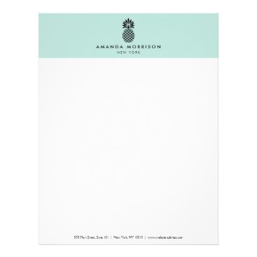 Elegant Pineapple Luxury Boutique Mint Letterhead