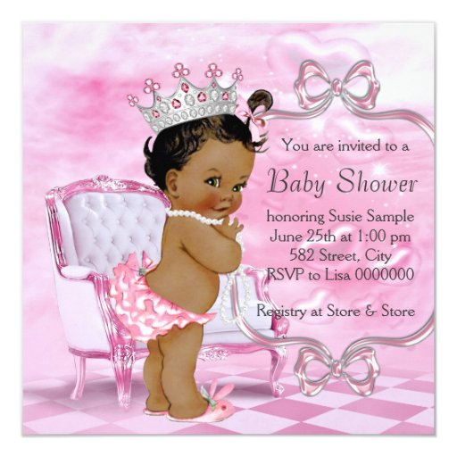 Elegant Pink African American Baby Shower Card Zazzle