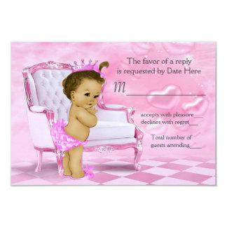 Elegant Pink African American Baby Shower RSVP Card