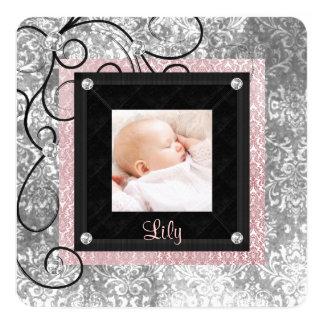Elegant Pink and Black Baby Girl Photo Birth Card