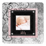 Elegant Pink and Black Baby Girl Photo Birth 5.25x5.25 Square Paper Invitation Card