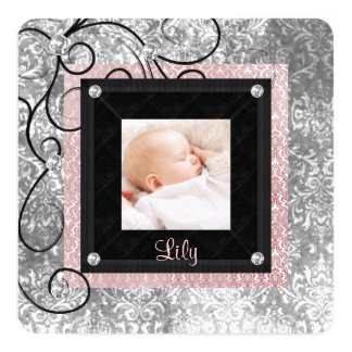 Elegant Pink and Black Baby Girl Photo Birth 5.25x5.25 Square Paper Invitation Card