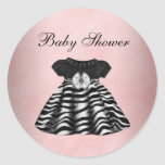 Elegant Pink and Black Baby Shower Stickers