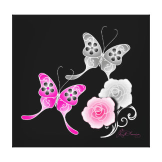 Elegant Pink And Black Butterflies And Roses Canvas Print