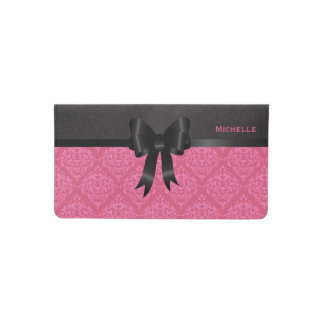 Elegant Pink and Black Damask Checkbook Cover