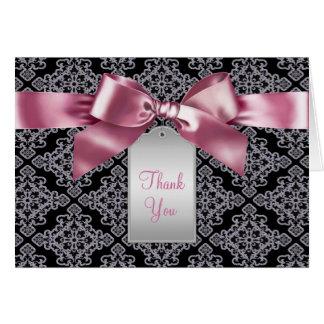 Elegant Pink and Black Damask Thank You Cards