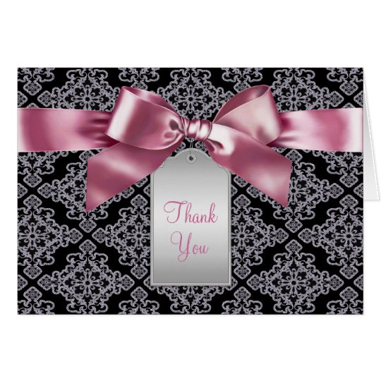Elegant Pink and Black Damask Thank You Cards