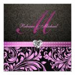 "Elegant Pink and Black Damask Wedding Invites 5.25"" Square Invitation Card"