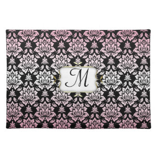 Elegant Pink and Black Damask with Monogram Cloth Placemat