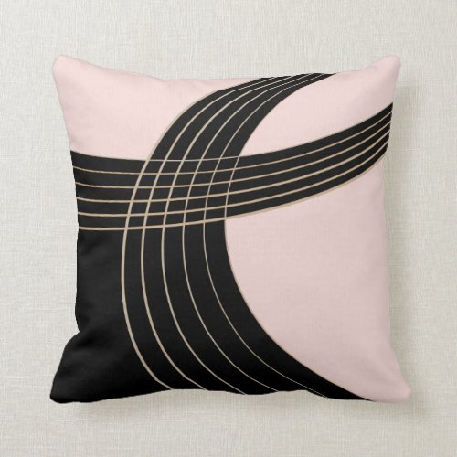Elegant Pink and Black Deco Curves Pattern Throw Pillow