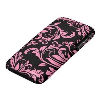 Elegant Pink and Black Floral Damask Case-Mate iPhone 3 Case