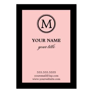Elegant Pink and Black Monogram Business Cards