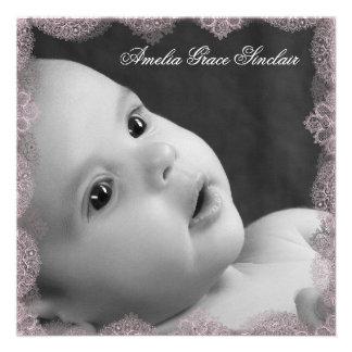 Elegant Pink and Black Photo Birth Announcement