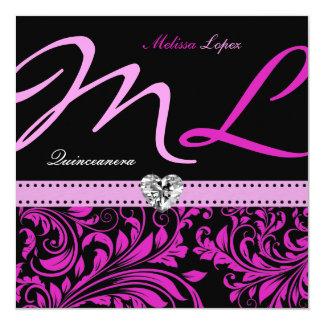 Elegant Pink and Black Quinceanera Custom Invites