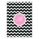 Elegant Pink and Black Retro Chevron Monogram Custom Invitation