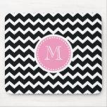Elegant Pink and Black Retro Chevron Monogram Mouse Pads