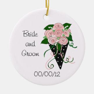 Elegant Pink and Black Wedding Bouquet Ceramic Ornament