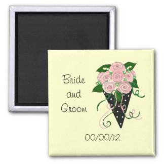 Elegant Pink and Black Wedding Bouquet Refrigerator Magnets