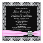 Elegant Pink and Black Womans 50th Birthday Party Announcement