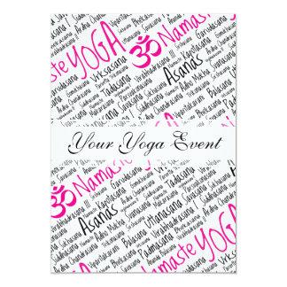 Elegant Pink and Black Yoga Positions Asanas Card