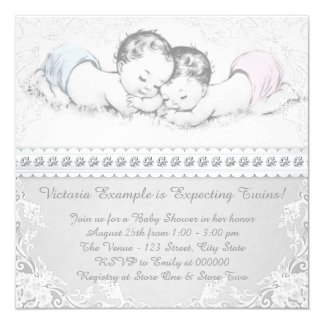 Elegant Pink and Blue Twin Baby Shower 5.25x5.25 Square Paper Invitation Card