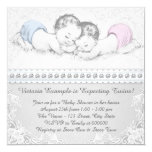 Elegant Pink and Blue Twin Baby Shower Personalized Announcements