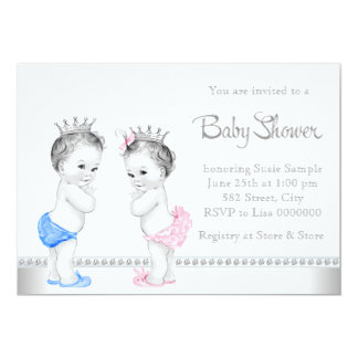 Elegant Pink and Blue Twins Baby Shower Personalized Announcements
