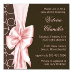Elegant Pink and Brown Baby Girl Shower Invitation