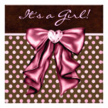 Elegant Pink and Brown Baby Girl Shower Custom Invitations