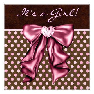 Elegant Pink and Brown Baby Girl Shower Custom Invitations