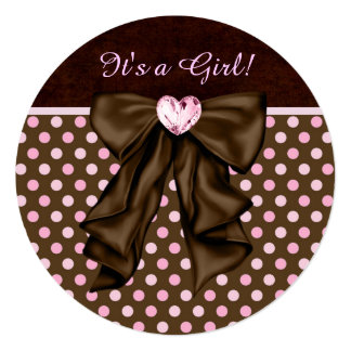 Elegant Pink and Brown Baby Girl Shower Invitations
