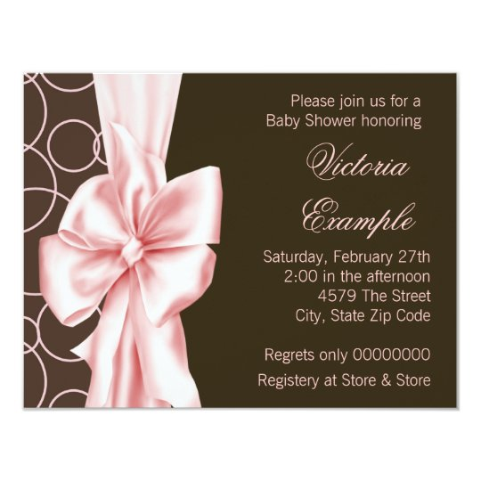 Elegant Pink And Brown Baby Girl Shower Invitation Zazzle