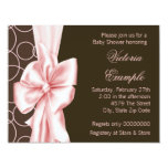 Elegant Pink and Brown Baby Girl Shower Personalized Invitation