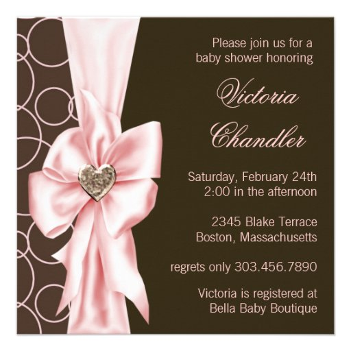 Pink And Brown Baby Shower Invitations and get inspiration to create nice invitation ideas